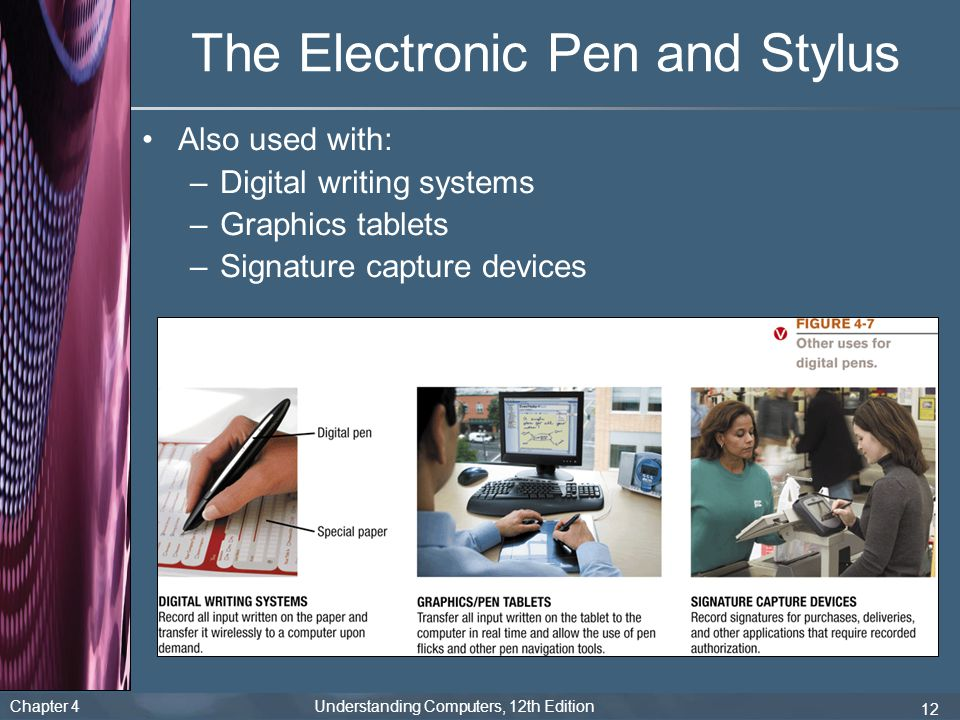 Chapter 4 Understanding Computers, 12th Edition 12 The Electronic Pen and Stylus Also used with: –Digital writing systems –Graphics tablets –Signature capture devices