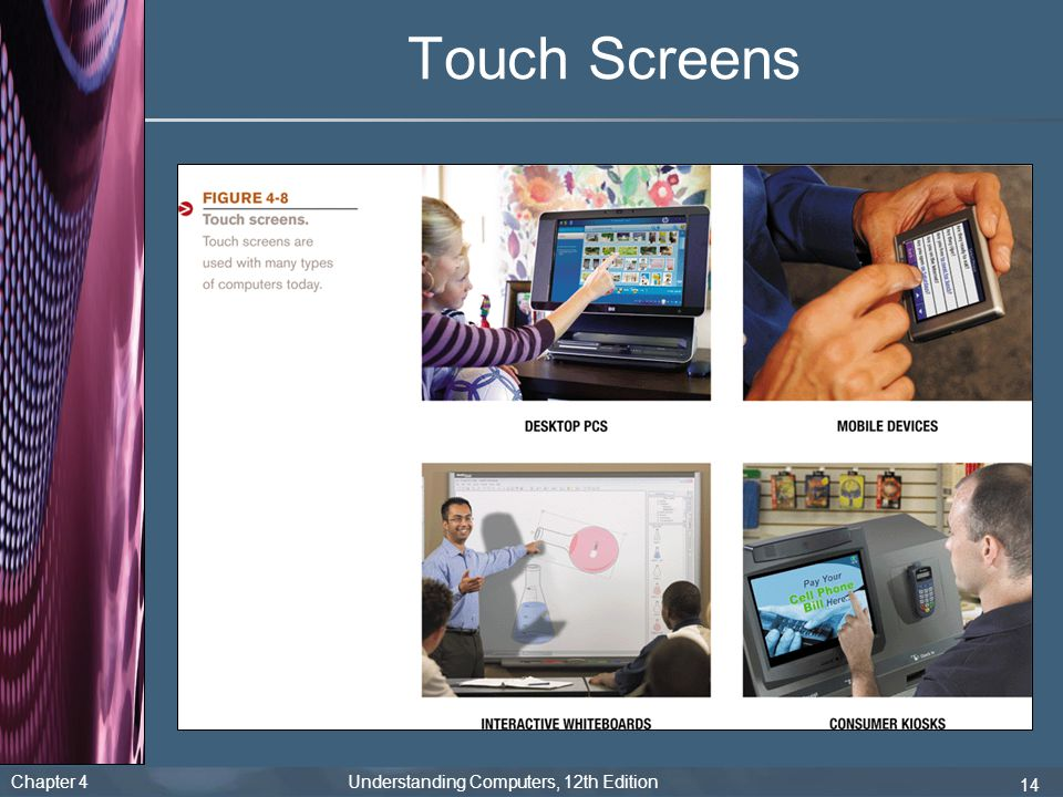Chapter 4 Understanding Computers, 12th Edition 14 Touch Screens