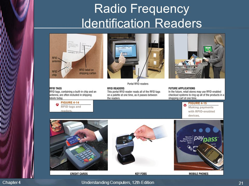 Chapter 4 Understanding Computers, 12th Edition 21 Radio Frequency Identification Readers