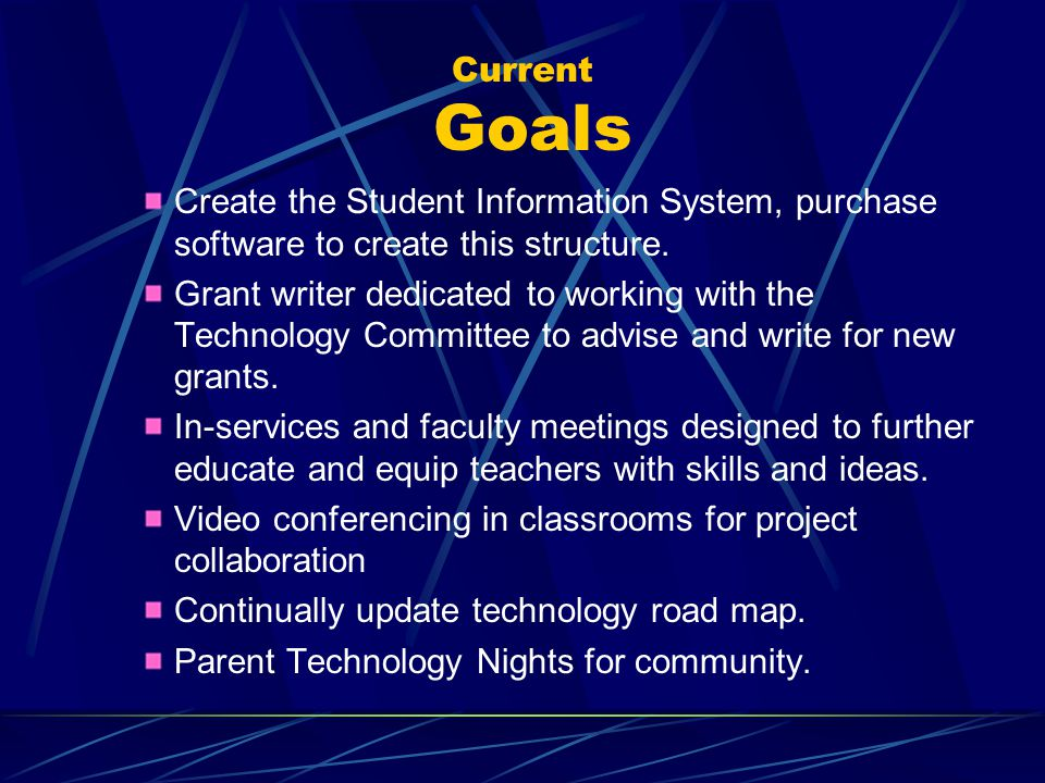 Current Goals Create the Student Information System, purchase software to create this structure.
