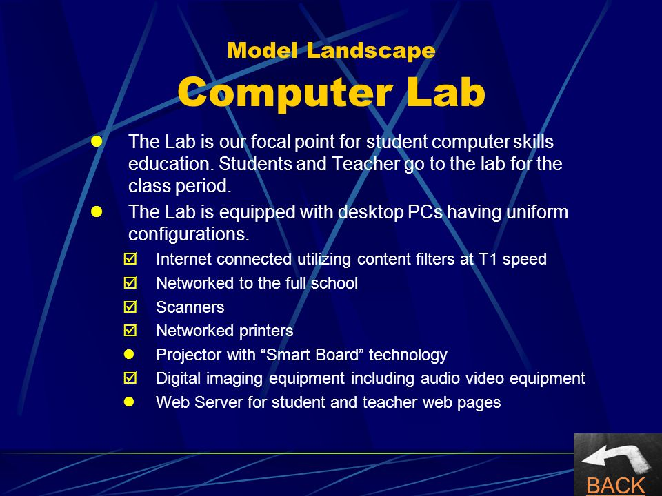 Model Landscape Computer Lab The Lab is our focal point for student computer skills education.