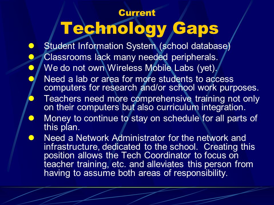 Current Technology Gaps Student Information System (school database) Classrooms lack many needed peripherals.