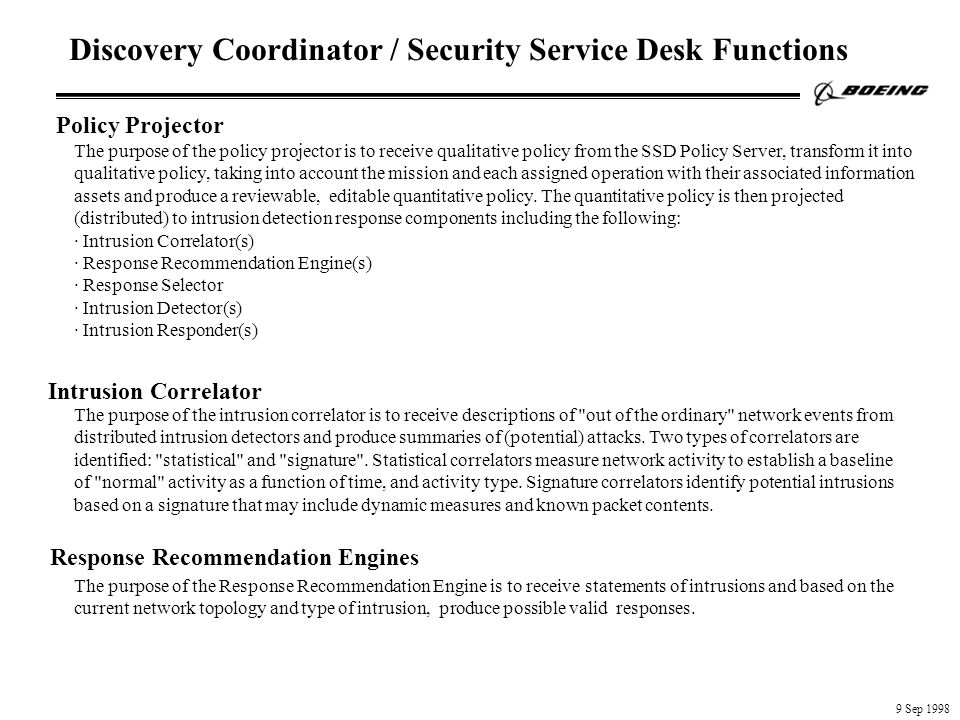 Discovery Coordinator / Security Service Desk Functions Intrusion Correlator Response Recommendation Engines Policy Projector The purpose of the policy projector is to receive qualitative policy from the SSD Policy Server, transform it into qualitative policy, taking into account the mission and each assigned operation with their associated information assets and produce a reviewable, editable quantitative policy.