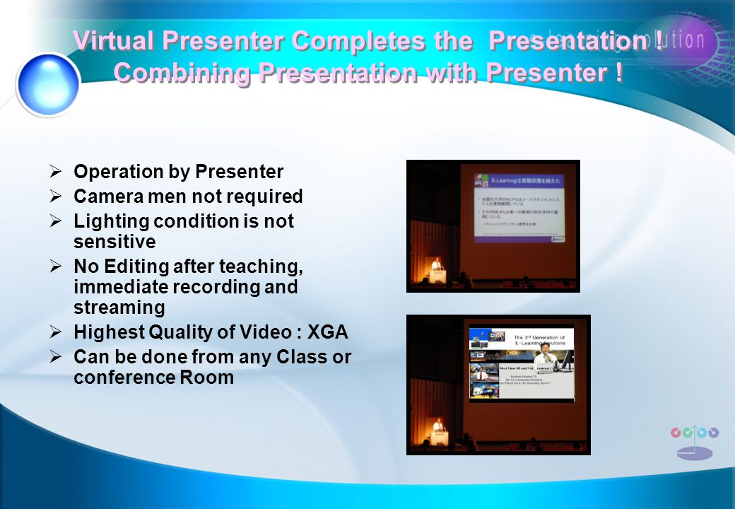 Virtual Presenter Completes the Presentation . Combining Presentation with Presenter .