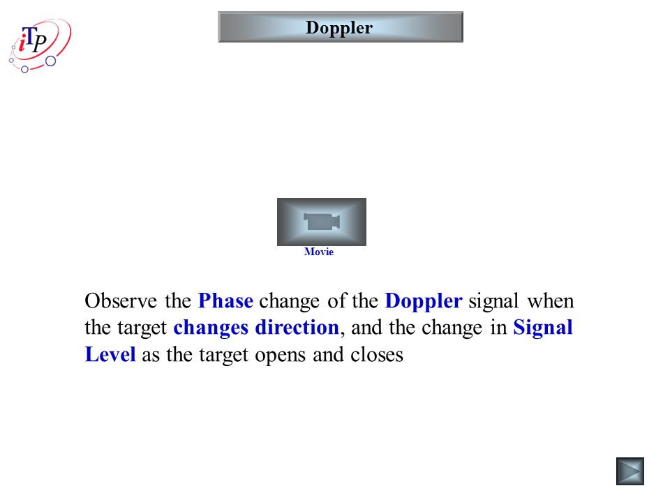 Movie Doppler Observe the Phase change of the Doppler signal when the target changes direction, and the change in Signal Level as the target opens and