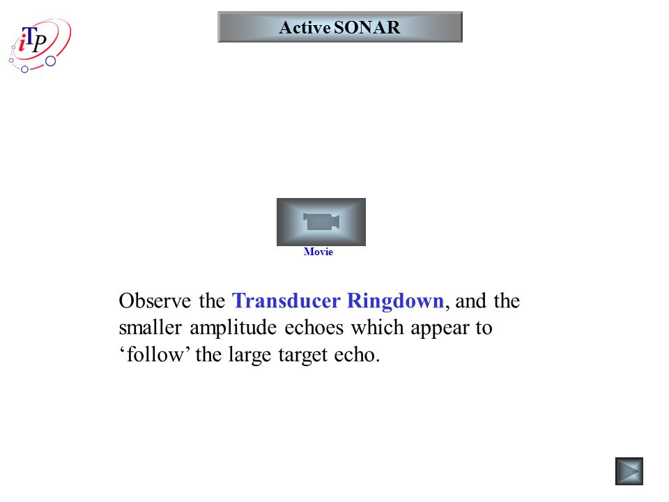 Active SONAR Movie Observe the Transducer Ringdown, and the smaller amplitude echoes which appear to 'follow' the large target echo.