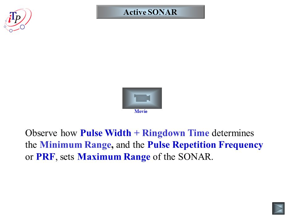 Active SONAR Movie Observe how Pulse Width + Ringdown Time determines the Minimum Range, and the Pulse Repetition Frequency or PRF, sets Maximum Range of the SONAR.