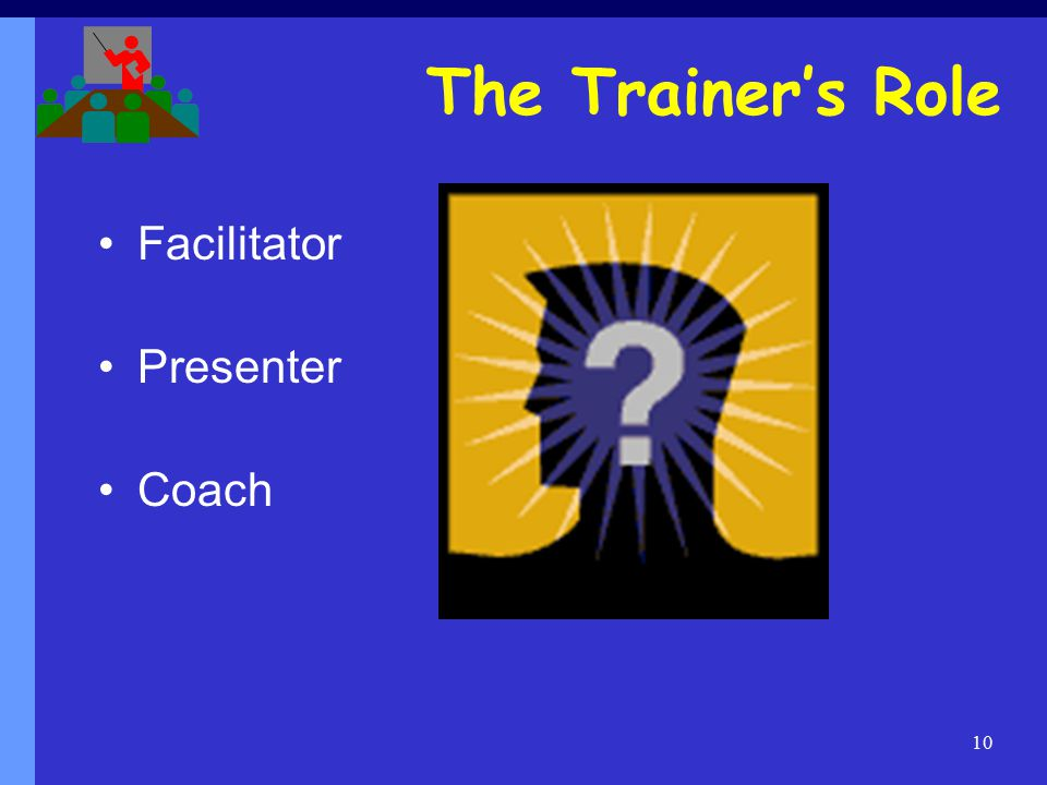 10 The Trainer's Role Facilitator Presenter Coach