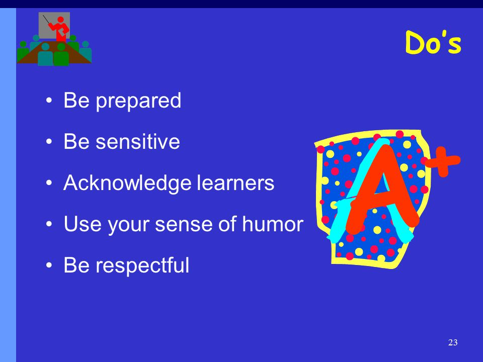 23 Be prepared Be sensitive Acknowledge learners Use your sense of humor Be respectful Do's A+A+