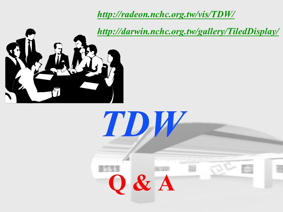 TDW Q & A http://radeon.nchc.org.tw/vis/TDW/ http://darwin.nchc.org.tw/gallery/TiledDisplay/