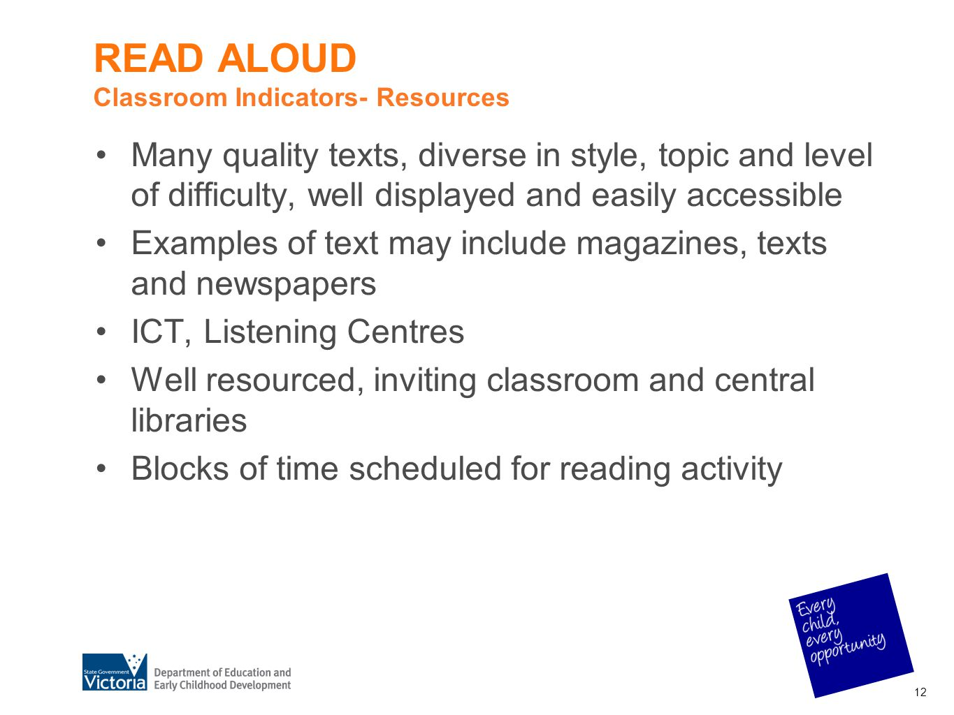 READ ALOUD Classroom Indicators- Resources Many quality texts, diverse in style, topic and level of difficulty, well displayed and easily accessible E