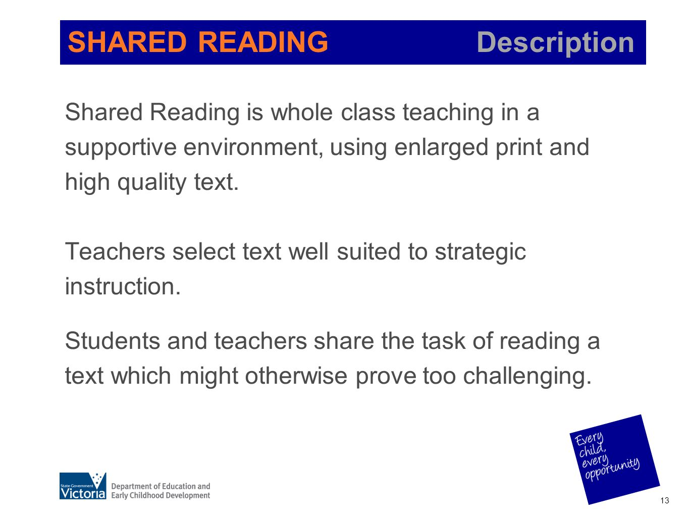 SHARED READING Description Shared Reading is whole class teaching in a supportive environment, using enlarged print and high quality text. Teachers se