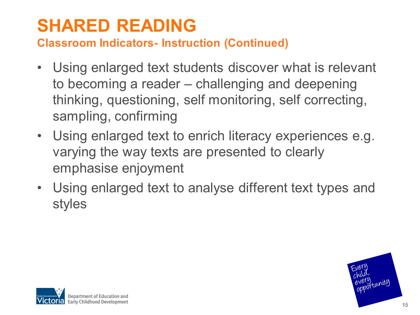 SHARED READING Classroom Indicators- Instruction (Continued) Using enlarged text students discover what is relevant to becoming a reader – challenging