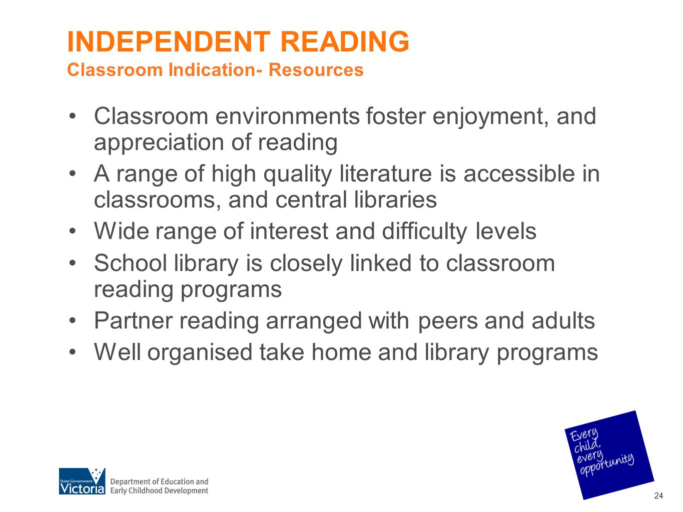 INDEPENDENT READING Classroom Indication- Resources Classroom environments foster enjoyment, and appreciation of reading A range of high quality liter