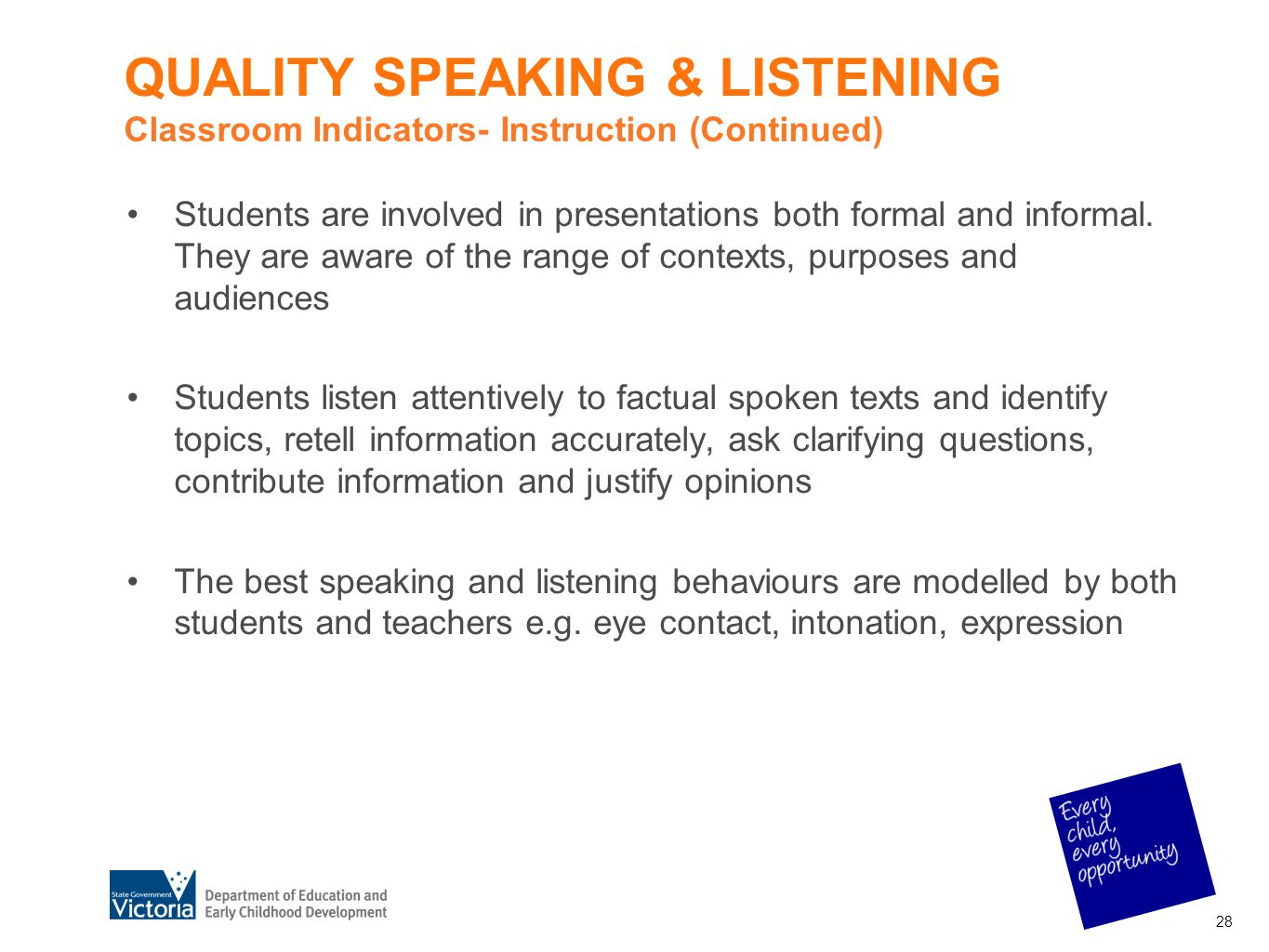 QUALITY SPEAKING & LISTENING Classroom Indicators- Instruction (Continued) Students are involved in presentations both formal and informal. They are a