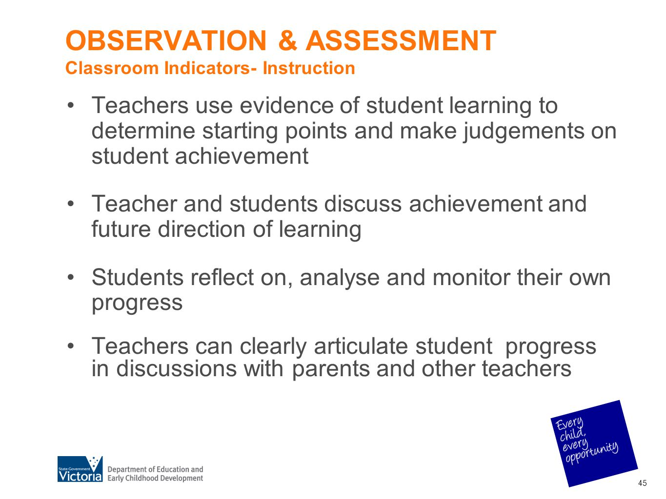 OBSERVATION & ASSESSMENT Classroom Indicators- Instruction Teachers use evidence of student learning to determine starting points and make judgements