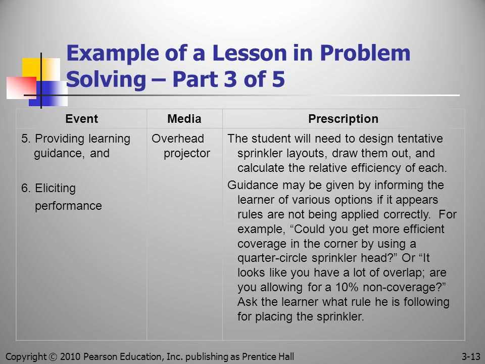 Copyright © 2010 Pearson Education, Inc. publishing as Prentice Hall 3-13 Example of a Lesson in Problem Solving – Part 3 of 5 EventMediaPrescription