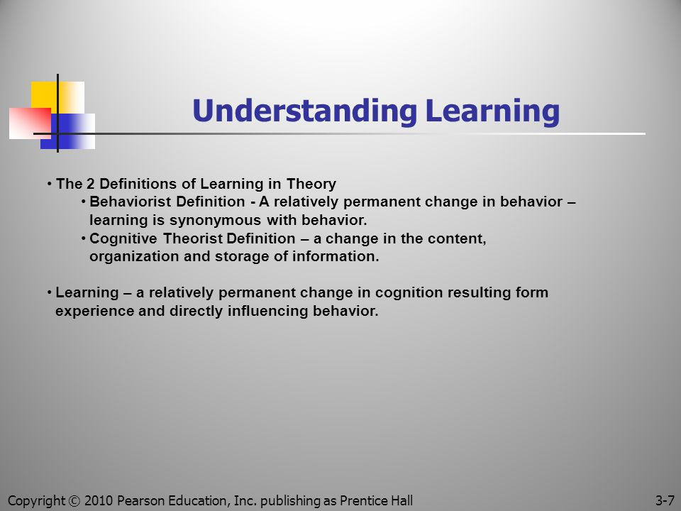 Understanding Learning The 2 Definitions of Learning in Theory Behaviorist Definition - A relatively permanent change in behavior – learning is synonymous with behavior.