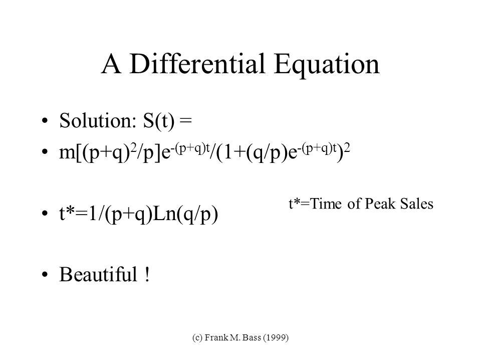 (c) Frank M. Bass (1999) The Model f(t)/[1-F(t)]=p+qF(t) Hazard Model m=ultimate market potential p=coefficient of innovation q=coefficient of imitati
