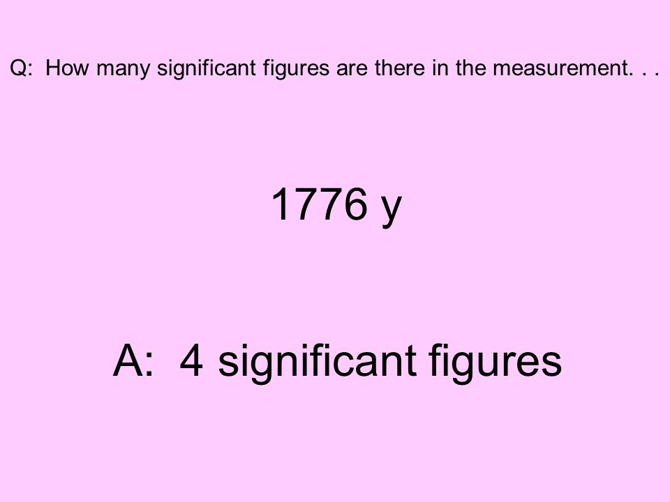 Q: How many significant figures are there in the measurement... 1776 y A: 4 significant figures