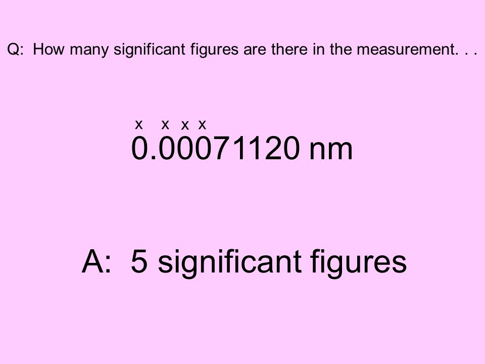 Q: How many significant figures are there in the measurement... 0.00071120 nm A: 5 significant figures xx x x