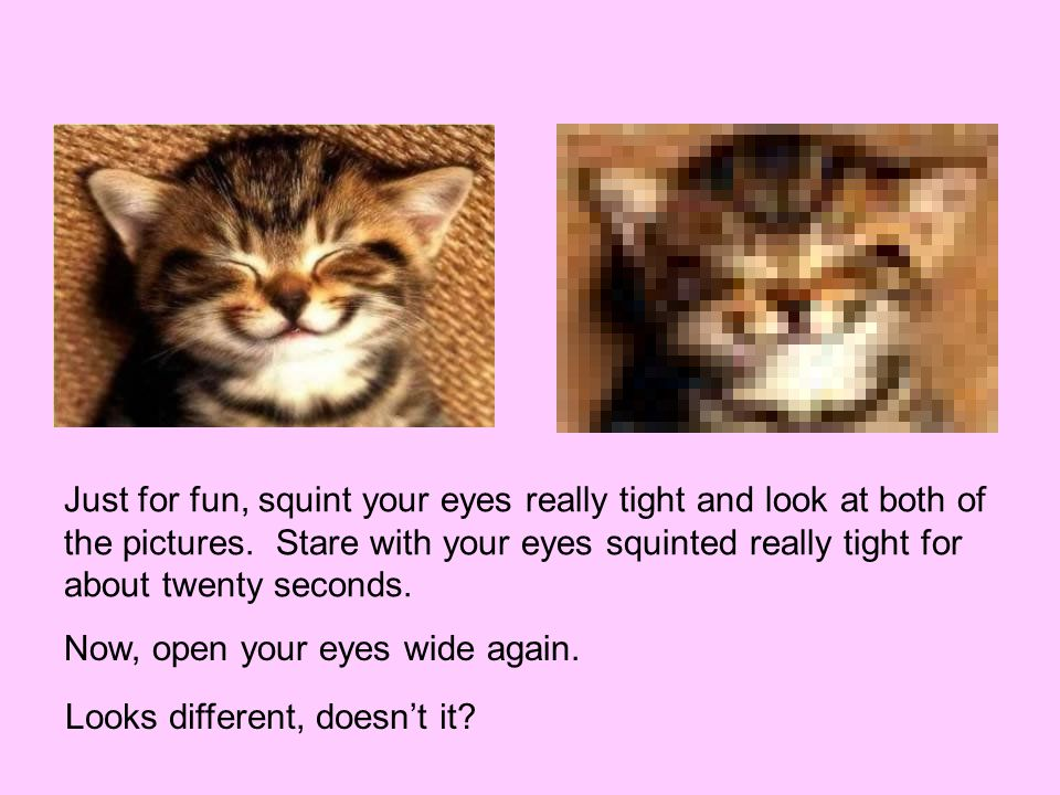 Just for fun, squint your eyes really tight and look at both of the pictures.