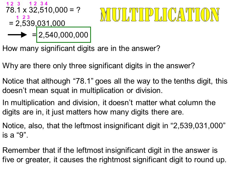 78.1 x 32,510,000 = . = 2,539,031,000 How many significant digits are in the answer.