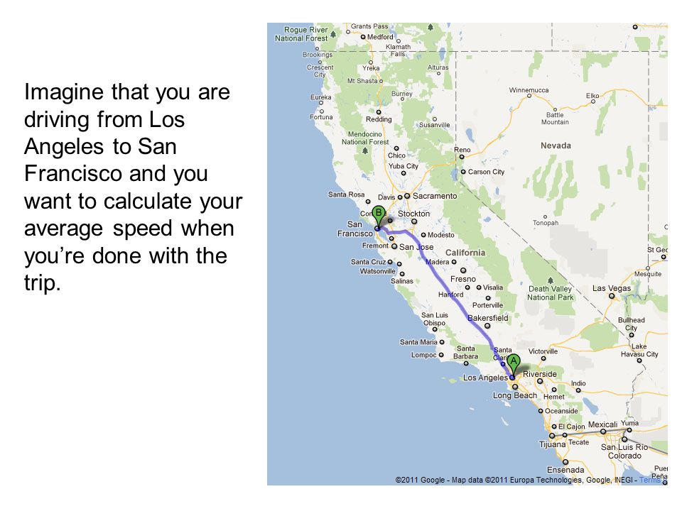 Your odometer reads 73,294.8 when you start your trip in Los Angeles.