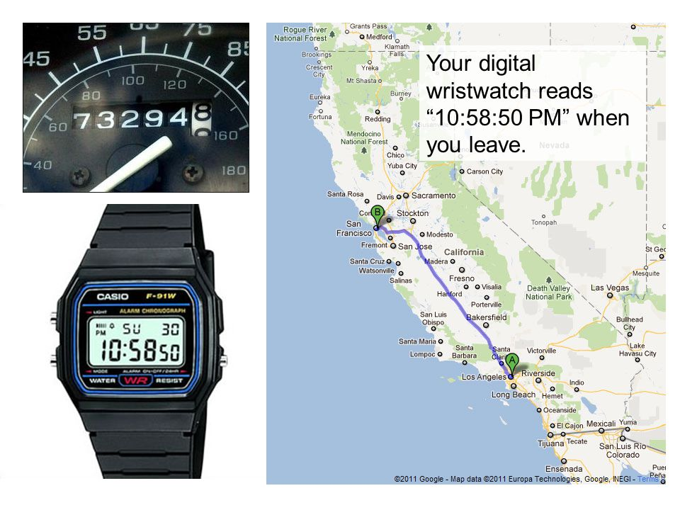At the end of the trip, when you reach San Francisco, your odometer reads 73,676.4 , and your digital wristwatch says 5:16:52 AM .