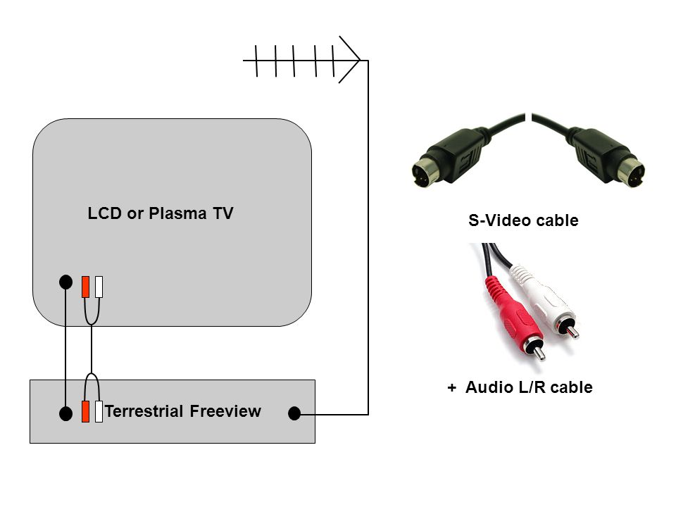 LCD or Plasma TV S-Video cable Terrestrial Freeview + Audio L/R cable