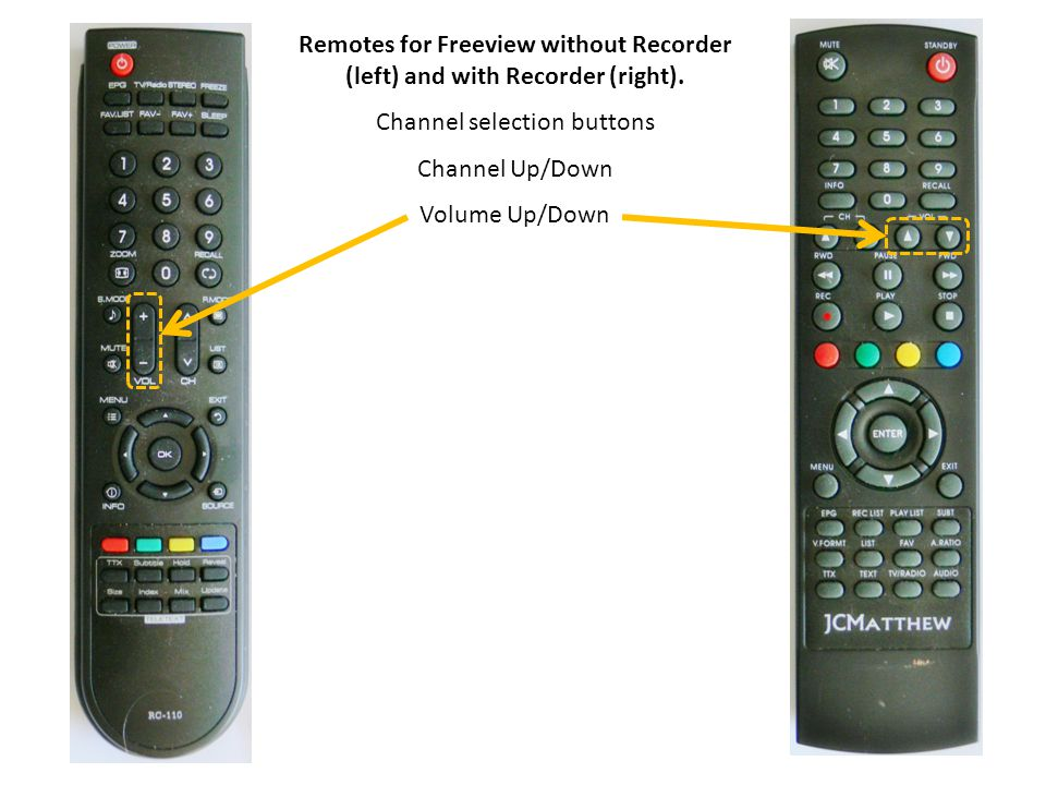 Remotes for Freeview without Recorder (left) and with Recorder (right).