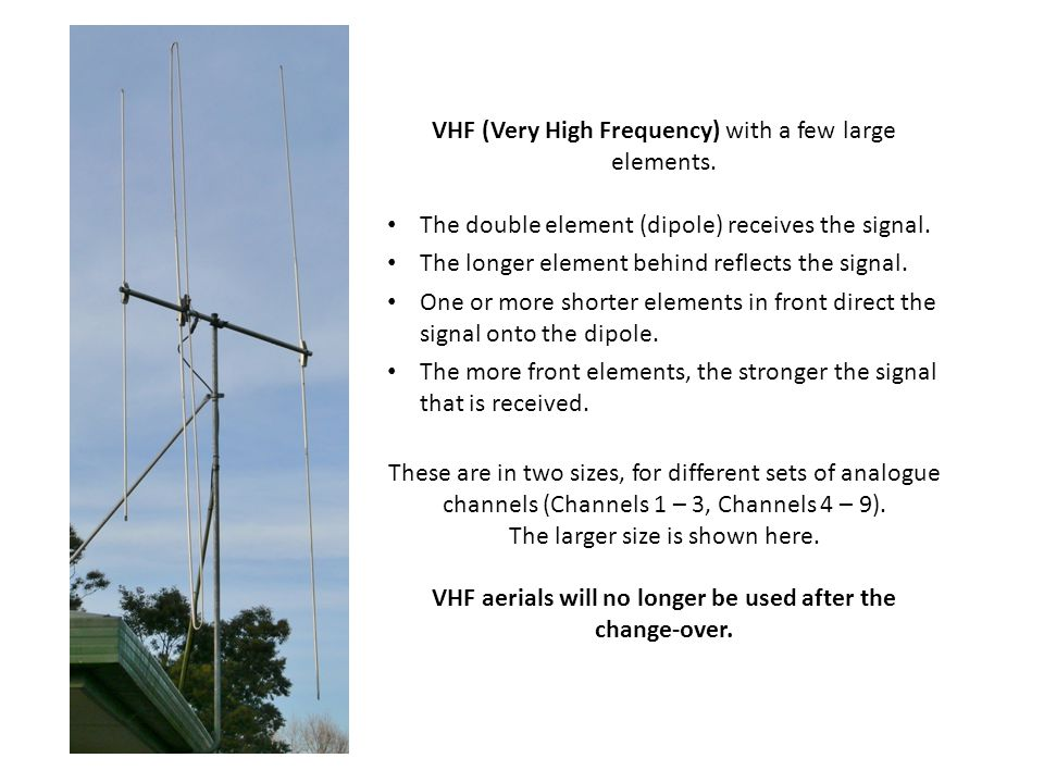 VHF (Very High Frequency) with a few large elements.