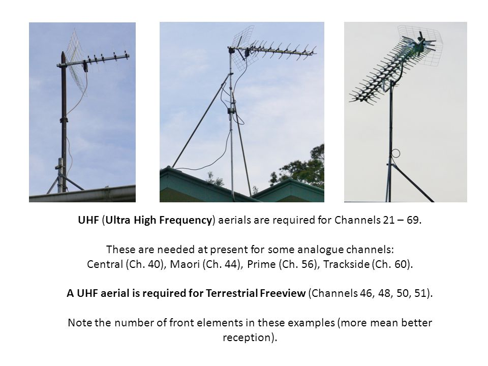 UHF (Ultra High Frequency) aerials are required for Channels 21 – 69.