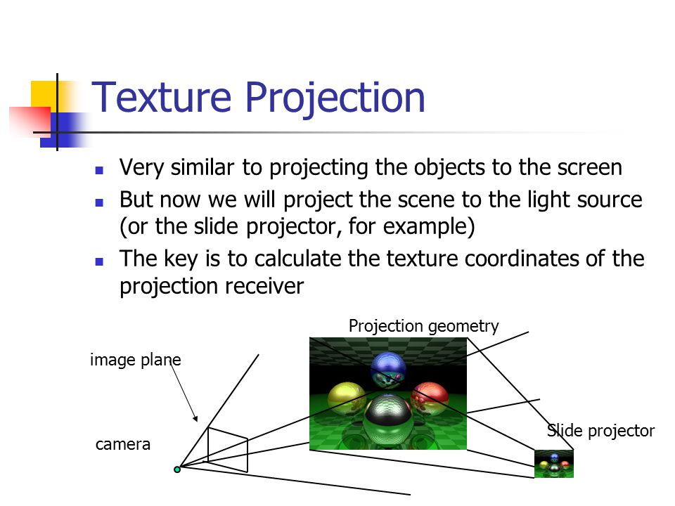 Calculate the Texture Coordinates Main idea – Project the objects to the image plane of the projector and use the projector's NDC to calculate the texture coordinates projector objects Projection projector objects Projection