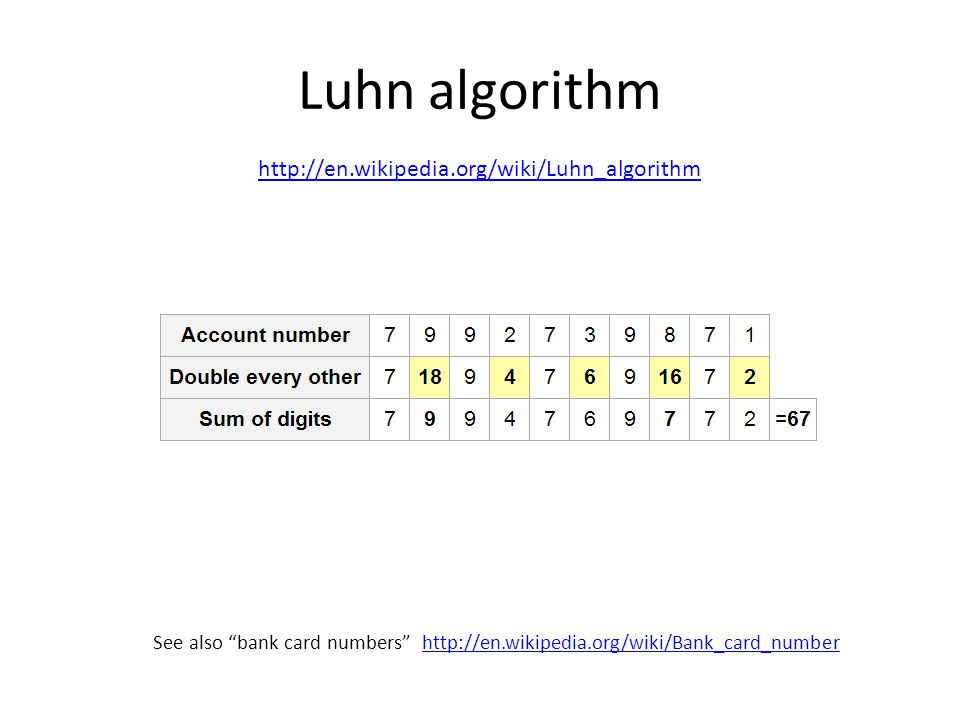Luhn algorithm http://en.wikipedia.org/wiki/Luhn_algorithm See also bank card numbers http://en.wikipedia.org/wiki/Bank_card_numberhttp://en.wikipedia.org/wiki/Bank_card_number