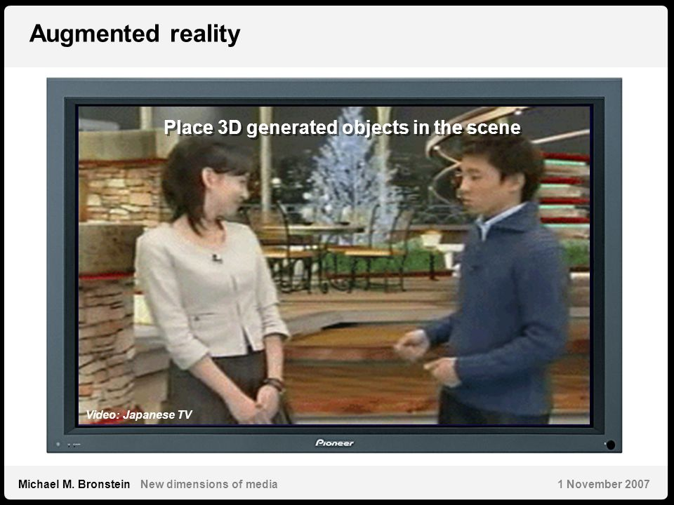 5 Michael M. Bronstein New dimensions of media 1 November 2007 Augmented reality Place 3D generated objects in the scene Video: Japanese TV