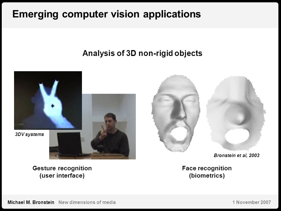 6 Michael M. Bronstein New dimensions of media 1 November 2007 Emerging computer vision applications Gesture recognition (user interface) Face recogni