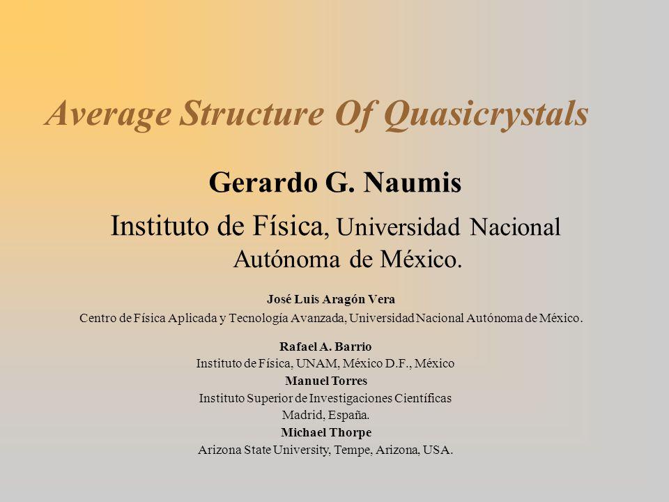 Average Structure Of Quasicrystals José Luis Aragón Vera Centro de Física Aplicada y Tecnología Avanzada, Universidad Nacional Autónoma de México.