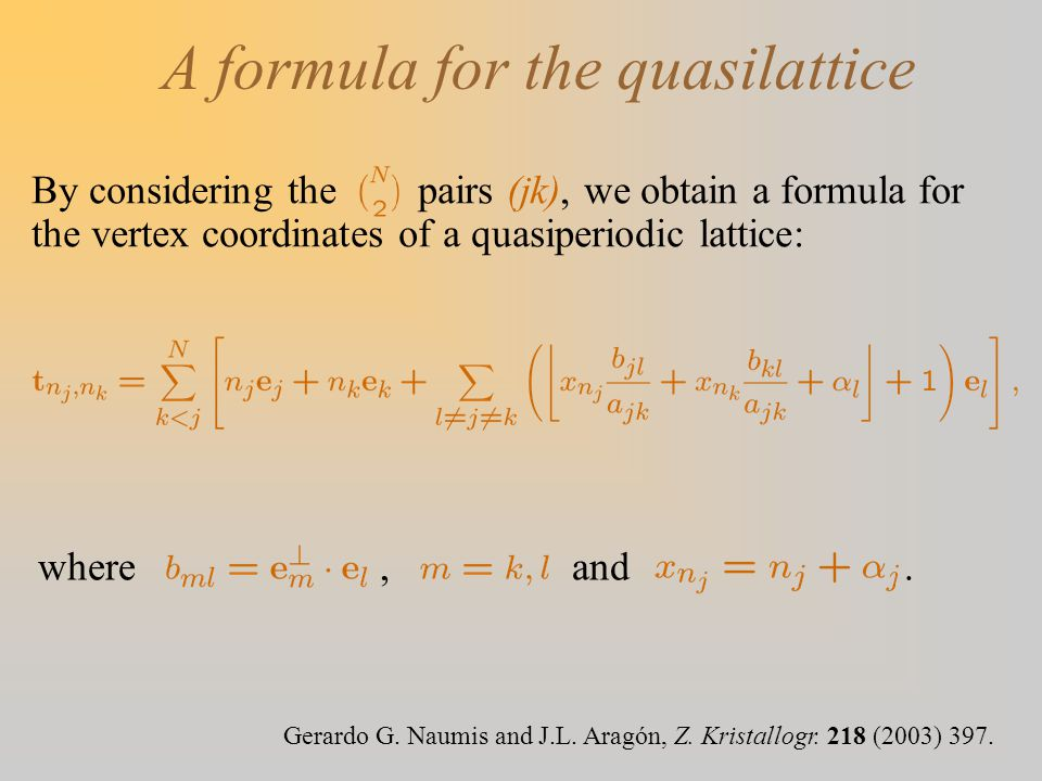 A formula for the quasilattice By considering the pairs (jk), we obtain a formula for the vertex coordinates of a quasiperiodic lattice: Gerardo G. Na