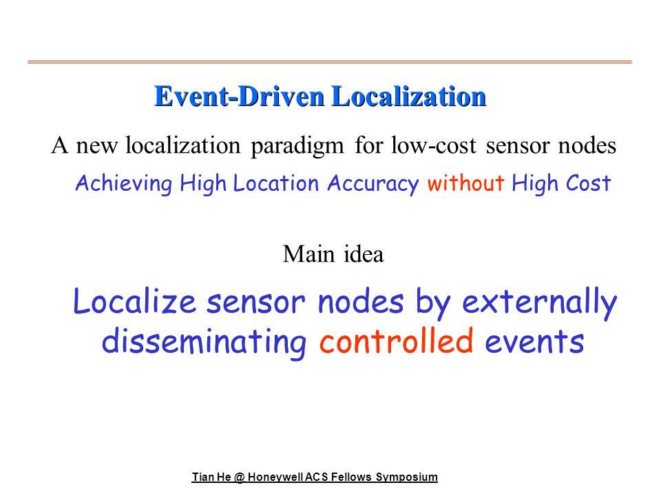 Tian He @ Honeywell ACS Fellows Symposium A football stadium where we deploy 6 sensor nodes in a 3x2 grid.