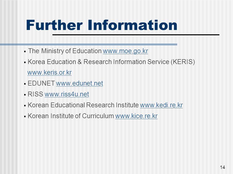 14 Further Information  The Ministry of Education www.moe.go.krwww.moe.go.kr  Korea Education & Research Information Service (KERIS) www.keris.or.kr  EDUNET www.edunet.netwww.edunet.net  RISS www.riss4u.netwww.riss4u.net  Korean Educational Research Institute www.kedi.re.krwww.kedi.re.kr  Korean Institute of Curriculum www.kice.re.krwww.kice.re.kr