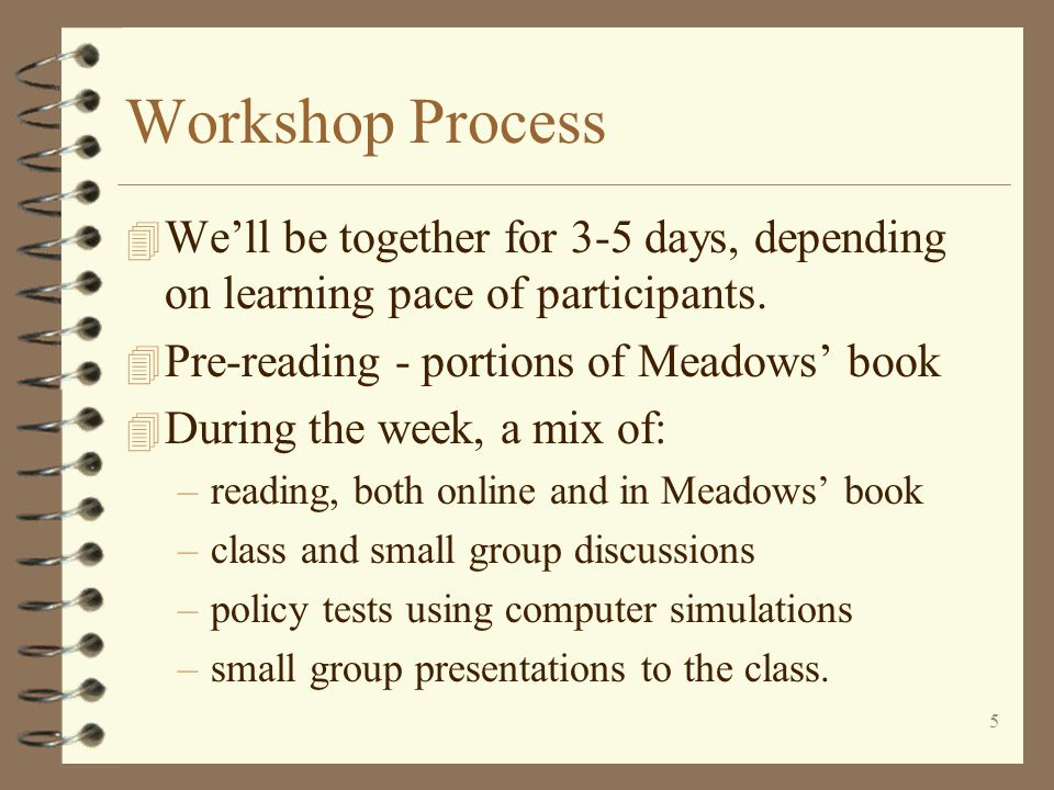 5 Workshop Process 4 We'll be together for 3-5 days, depending on learning pace of participants.