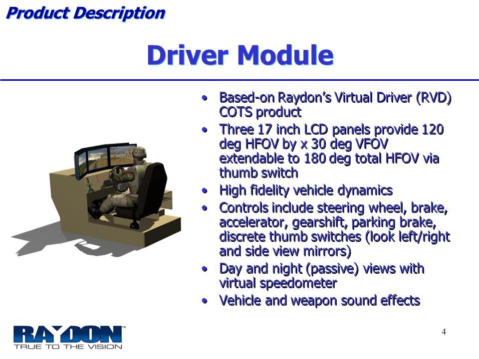 *****Raydon Proprietary***** 4 Driver Module Based-on Raydon's Virtual Driver (RVD) COTS product Three 17 inch LCD panels provide 120 deg HFOV by x 30