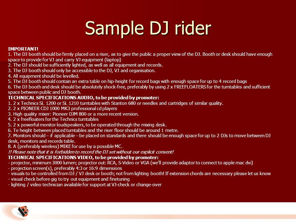 Sample DJ rider IMPORTANT. 1.