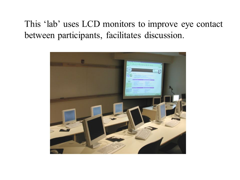 This 'lab' uses LCD monitors to improve eye contact between participants, facilitates discussion.