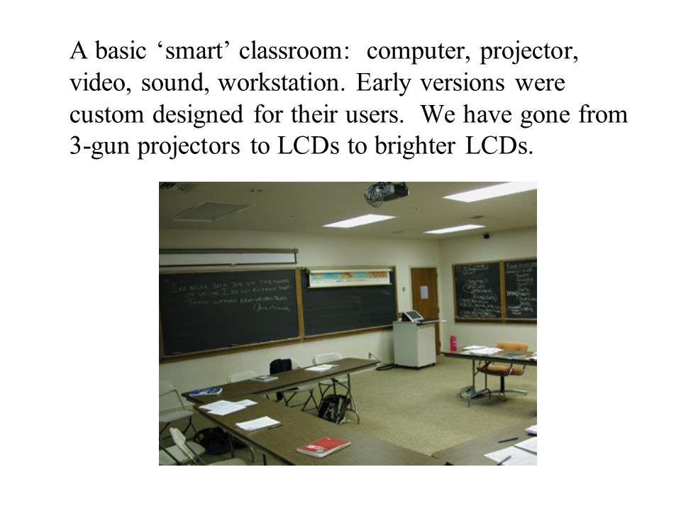 The Smart3 classroom allows us to create standardized instruction sets for users of the rooms.