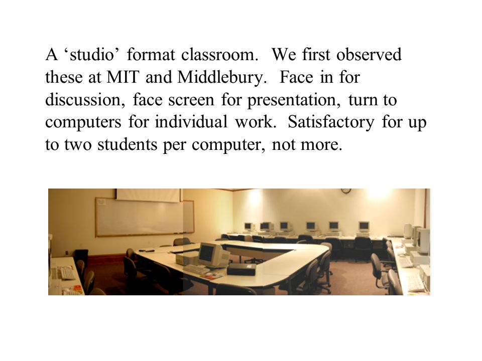 A 'studio' format classroom. We first observed these at MIT and Middlebury.