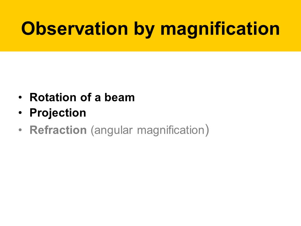 Observation by magnification Rotation of a beam Projection Refraction (angular magnification )