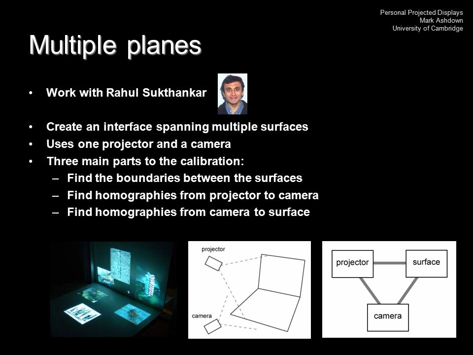 Personal Projected Displays Mark Ashdown University of Cambridge Multiple planes Work with Rahul Sukthankar Create an interface spanning multiple surf