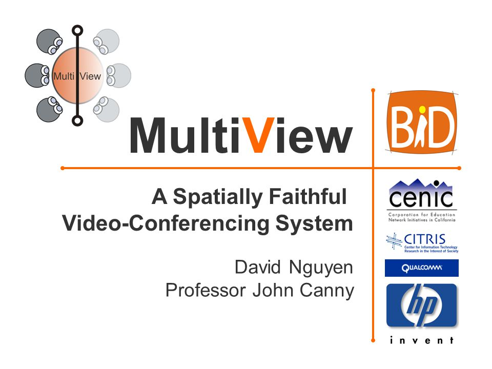 David Nguyen Professor John Canny MultiView A Spatially Faithful Video-Conferencing System